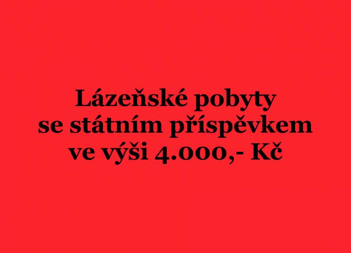 Lázeňské pobyty se státním příspěvkem 4.000 Kč